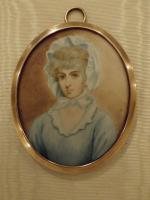 Hand Painted Miniature Portrait On Ivory of Miss Saly Biddles