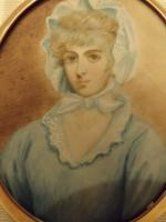 Hand Painted Miniature Portrait On Ivory of Miss Saly Biddles (5 of 6)