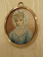 Hand Painted Miniature Portrait On Ivory of Miss Saly Biddles (4 of 6)