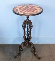 Inlaid Marble Pietra Dura Occasional Pedestal Table C.1850