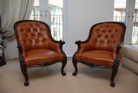 Antique Victorian Rosewood Pair of Armchairs New Leather Upholstery
