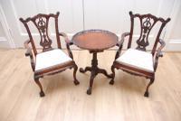 Antique Collectables Childs/Dolls Set; Tilt Top Table & Pair Chippendale Armchairs