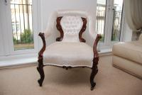 Antique Fine Quality White New Upholstery Walnut Victorian Armchair