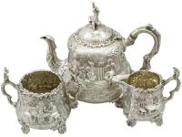 Sterling Silver Three Piece Tea Service - Antique Victorian 1883