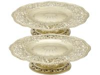 Antique Victorian Sterling Silver Gilt Tazzas / Centrepieces