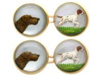 Essex Crystal & 18ct Yellow Gold Dog Cufflinks - Antique Victorian