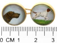 Essex Crystal & 18ct Yellow Gold Dog Cufflinks - Antique Victorian (3 of 6)
