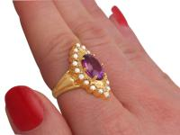 2.51ct Amethyst & Seed Pearl, 9ct Yellow Gold Dress Ring - Vintage 1976 (5 of 9)