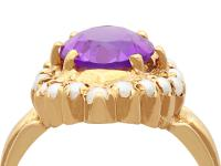 2.51ct Amethyst & Seed Pearl, 9ct Yellow Gold Dress Ring - Vintage 1976 (7 of 9)