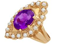 2.51ct Amethyst & Seed Pearl, 9ct Yellow Gold Dress Ring - Vintage 1976 (2 of 9)