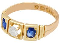 0.62ct Sapphire & 0.29ct Diamond and 15ct Yellow Gold Three Stone Ring - Victorian (3 of 9)