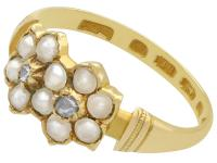 Pearl & Diamond, 18ct Yellow Gold Dress Ring - Antique 1871 (3 of 9)
