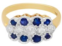 0.32ct Sapphire & 0.20 ct Diamond, 18ct Yellow Gold Ring - Antique c.1910 (4 of 8)