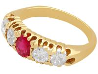 0.82ct Diamond & Synthetic Ruby, 18ct Yellow Gold Ring - Antique c.1910 (3 of 9)