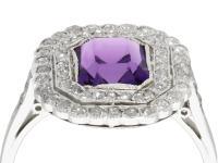 1.92ct Amethyst & 1.20ct Diamond, Platinum Dress Ring - Antique c.1920 (2 of 9)