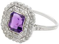 1.92ct Amethyst & 1.20ct Diamond, Platinum Dress Ring - Antique c.1920 (3 of 9)