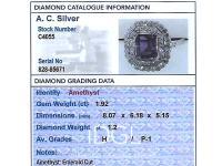 1.92ct Amethyst & 1.20ct Diamond, Platinum Dress Ring - Antique c.1920 (7 of 9)