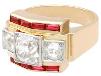 2.28ct Diamond & 0.52ct Ruby, 18ct Yellow Gold Dress Ring - Vintage French c.1940 (3 of 9)