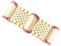 3ct Ruby & 9ct Yellow Gold Bracelet - Vintage 1959