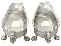 Pair of Sterling Silver Sauceboats - Antique George II (3 of 12)