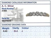 0.42ct Diamond & 14ct Yellow Gold, Five Stone Ring - Antique c.1920 (6 of 9)
