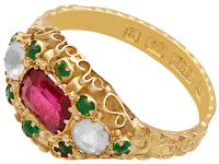 Paste & 15ct Yellow Gold Dress Ring - Antique Victorian 1873 (3 of 9)