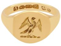 18 ct Yellow Gold Signet Ring - Antique 1920 (3 of 6)