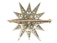7.08ct Diamond & 10ct Yellow Gold Star Brooch - Antique c.1880 (5 of 8)