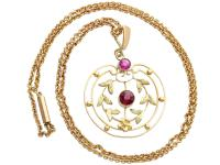 0.48 ct Garnet and Amethyst, 9 ct Yellow Gold Pendant - Antique circa 1920 (2 of 9)