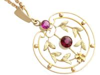 0.48 ct Garnet and Amethyst, 9 ct Yellow Gold Pendant - Antique circa 1920 (3 of 9)