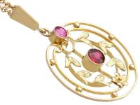 0.48 ct Garnet and Amethyst, 9 ct Yellow Gold Pendant - Antique circa 1920 (4 of 9)