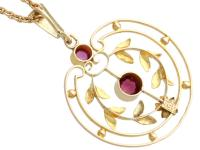 0.48 ct Garnet and Amethyst, 9 ct Yellow Gold Pendant - Antique circa 1920 (5 of 9)