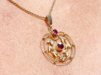 0.48 ct Garnet and Amethyst, 9 ct Yellow Gold Pendant - Antique circa 1920 (9 of 9)