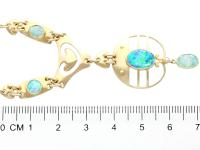 Antique 2.62ct Opal & 15ct Yellow Gold Necklace by Murrle Bennet & Co C.1900 (6 of 9)