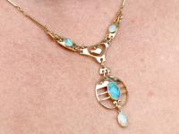 Antique 2.62ct Opal & 15ct Yellow Gold Necklace by Murrle Bennet & Co C.1900 (9 of 9)