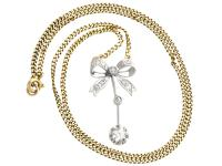 0.45ct Diamond & 18ct White Gold Bow Necklace - Antique c.1920 (2 of 9)