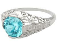 3.34ct Blue Zircon & Platinum Dress Ring - Antique c.1920 (3 of 9)
