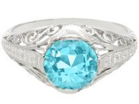 3.34ct Blue Zircon & Platinum Dress Ring - Antique c.1920 (4 of 9)