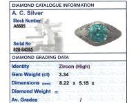 3.34ct Blue Zircon & Platinum Dress Ring - Antique c.1920 (6 of 9)