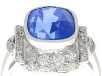 5.86ct Ceylon Sapphire & 0.73ct Diamond, Platinum Dress Ring - Art Deco c.1935 (2 of 9)
