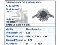 0.78ct Sapphire & 0.74ct Diamond, 18ct White Gold Dress Ring - Vintage c.1980 (6 of 9)