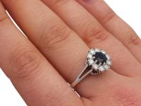 0.78ct Sapphire & 0.74ct Diamond, 18ct White Gold Dress Ring - Vintage c.1980 (8 of 9)