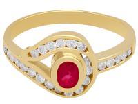 0.28ct Ruby 7 0.39ct Diamond, 18ct Yellow Gold Twist Ring - Vintage c.1980 (3 of 9)