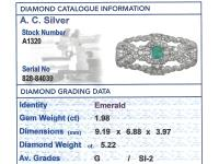 1.98ct Emerald & 5.22ct Diamond, Platinum Brooch - Art Deco c.1930 (7 of 9)