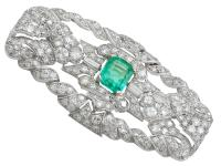 1.98ct Emerald & 5.22ct Diamond, Platinum Brooch - Art Deco c.1930 (2 of 9)