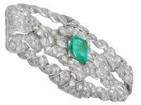 1.98ct Emerald & 5.22ct Diamond, Platinum Brooch - Art Deco c.1930 (3 of 9)