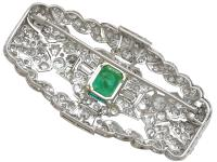 1.98ct Emerald & 5.22ct Diamond, Platinum Brooch - Art Deco c.1930 (5 of 9)