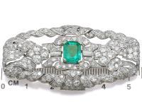 1.98ct Emerald & 5.22ct Diamond, Platinum Brooch - Art Deco c.1930 (8 of 9)