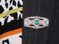 1.98ct Emerald & 5.22ct Diamond, Platinum Brooch - Art Deco c.1930 (9 of 9)