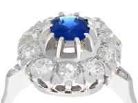 1.02ct Basaltic Sapphire & 1.85ct Diamond, 18ct White Gold Cluster Ring c.1930 (2 of 9)